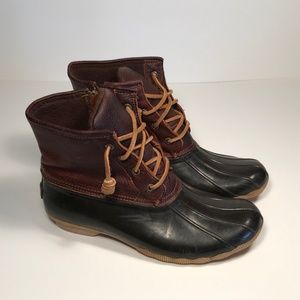 Sperry Saltwater Leather Rubber Duck Boots Women 9